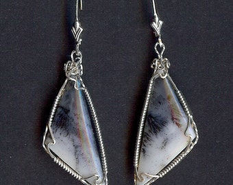 740 Elegant Blue Dendrite Earrings