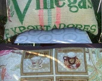 BURLAP Coffee  SACK Latte PILLOW Medium