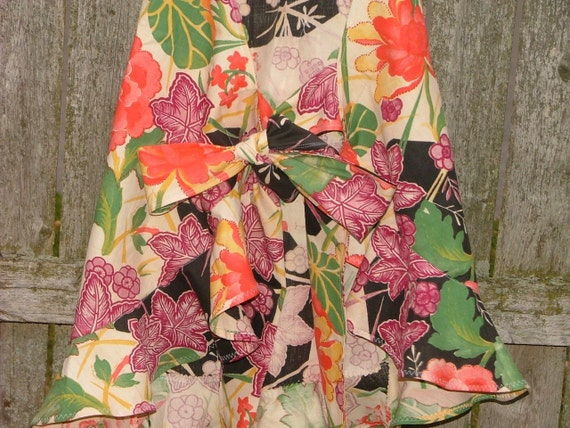 Bold And Beautiful FLORAL  print APRON FULL Length Flouncy Ruffled