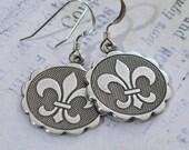 Handmade Antique Silver Fleur de Lis Coin Earrings