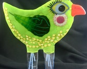 Whimsical Lime Bird Sculpture Fused Glass Standing