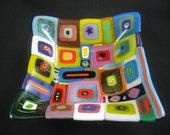 Retro colorful squares fused glass sexy square bowl