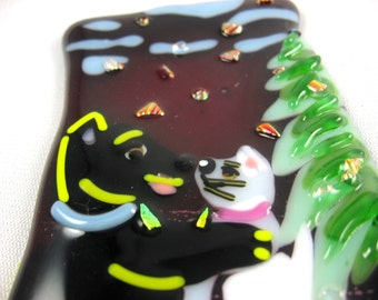 Dog and Cat winter holiday ornament or suncatcher fused glass