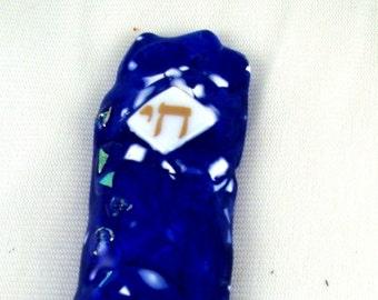 Wedding Shards Fused Glass Mezuzah