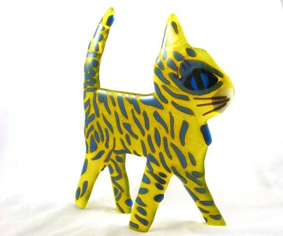 Lemon Yellow Standing Fused Glass Cat