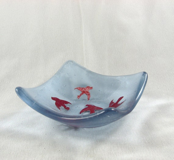 ON SALE  Flying Birds Translucent Lavender small fused glass bowl