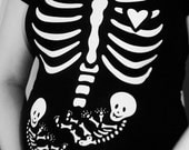 Maternity Skeleton Twins Applique - DIY Iron On Pregnant Skeleton