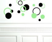 Dottilicious Wall Decals - Fun Childrens Bedroom Playroom Theater Room Vinyl Decor - Window Mirror Stickers - Circles Stripes Squares