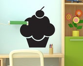 Black Chalkboard Cupcake Wall Decal - Kitchen Decor - Wall Decal Sticker  - Kids Labels - Peel and Stick