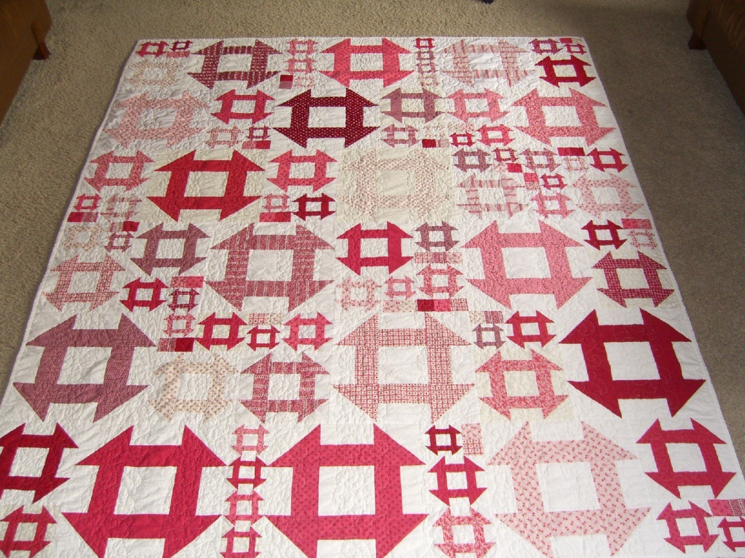 Quilt Pattern With Different Size Blocks : Bohemian Style Churn Dash Quilt