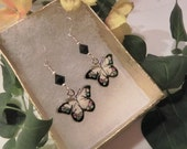 Butterfly Charms on Swarovski Crystal with Sterling Silver Fish Hook Posts