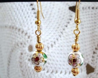 White Cloisonne Earrings