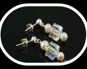 Swarovski Crystal Square & Pearl Earrings