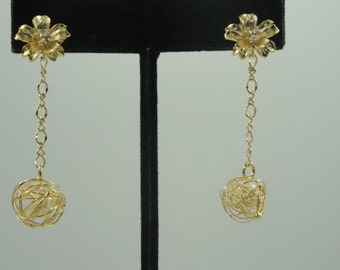 Irene Flower Pearl Gold Wedding Earrings Bride Bridesmaids Maid of Honor Mother of the Bride Mother of the Groom Sweet Sixteen Prom