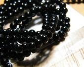 16 inch strand Blackstone 4mm round beads, supplies