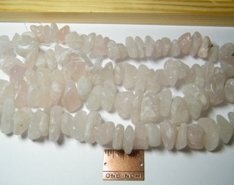 16 inch strand natural Rose Quartz medium to huge tumbled pebble beads, pink, supplies
