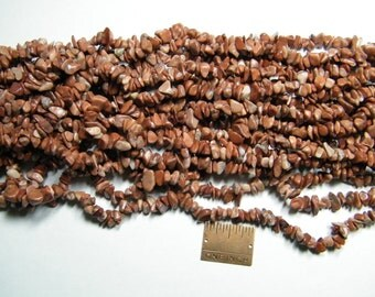 Chip beads: 36 inch strand Flower Stone chip beads, marble, supplies