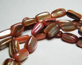 15 inch strand free form mother of pearl tube beads, dyed pink/red, supplies