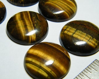 3 round natural Golden Tiger Eye cabochons, about 26mm in diameter, 6-7mm thick