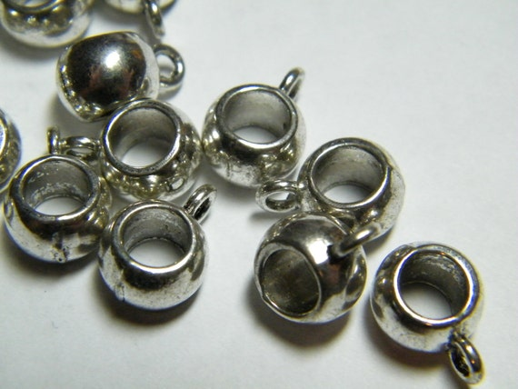 Silver beads: 20 large hole pendant or charm hanger beads, supplies