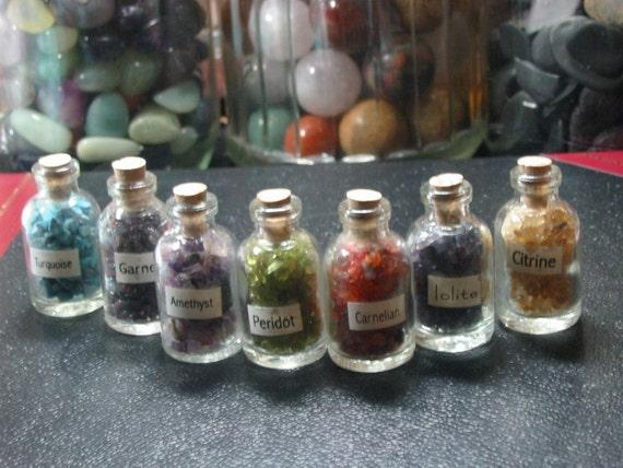 7 bottle Chakra set, glass bottles assorted chips, NOT DRILLED, metaphysical, supplies