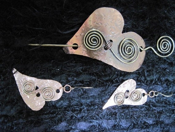 Shawl Pin and Matching Earrings