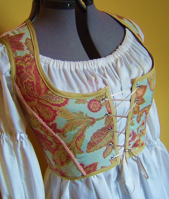 Medieval Wedding Dress Pattern Laced Corset Bridal Gown: Renaissance Medieval Maiden Pirate Wench Corset Bodice