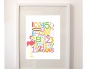 Numbers Art  'Lets Count' 8x10 Childrens Art Print featuring a Flamingo