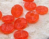 Sparkling Orange Crush Textured Vintage Acrylic Disc Beads (10 Pcs)