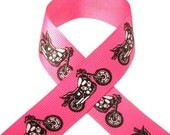 7/8 Hot Pink & Black Motorcycle Grosgrain Ribbon 3 Yards