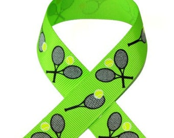 7/8 Tennis Love on Apple Grosgrain Ribbon 3 yards