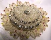 Vintage 1930s Beaded Lace  Brooch  OOAK handmade