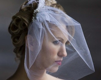 Angelina- Angled  Side Demi Veil -Antique Jewel and feather Accent - CRBoggs Original