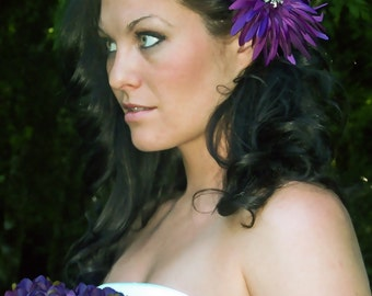 Silk Gerbera Daisy in Purple with Vintage Rhinestone Center-CRBoggs Designs Original