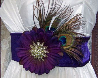 Peacock n Amethyst Vintage Beauty Bridal Sash/Belt CRBoggs Original