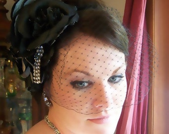 Midnight Glam- Black and Silver Grey Roses and Rhinestone Headband Veil  CRBoggs Designs Original