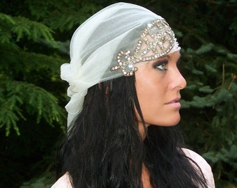 Vintage Couture-Bohemian Chic Handmade Old World English Net Headwrap-beaded-Authentic 1800s Metal rhinestone Applique-CRBoggs Original-OOAK