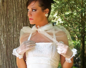 Vintage Couture  English Tulle - Vintage Fur and Pearl Bridal Wrap-CRBoggs Original Design