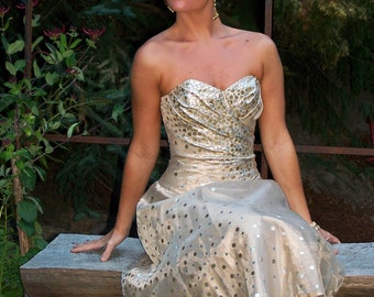 CLEARANCE-Stunning Strapless Organza Gold n Silver Prom/wedding/Party/Cocktail Dress-CRBoggs Designs-LAST ONE