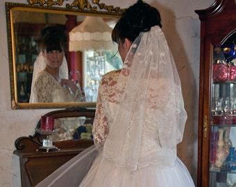 Crystal White  Silver Embroidered Bridal Veil-Swarovski Crystals-CRBoggs original Design