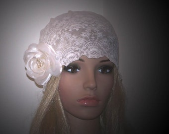 Isabella- Vintage Couture White French Silk Lace Embroidered Bridal Cap-Detachable Flower Brooch-CRBoggs Original Design