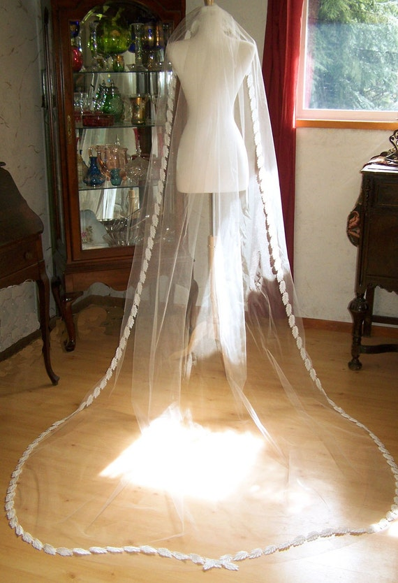 Silk Crochet Leaf Lace trimmed  Cathedral Veil  with Vintage Pearl Accents  CRBoggs Original Design