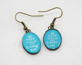 KCCO Light Blue Keep Calm and Carry On Earrings