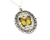 Orange Butterfly Necklace, Cameo Necklace, Nature Illustration, Yellow Butterfly Necklace, Woodland, Animal Necklace