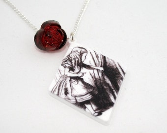 SALE Alice Necklace, Tenniel Illustration, Alice In Wonderland