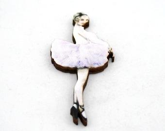 Pink Ballerina Brooch, Wood Accessory, Dancer Illustration, Ballerina Badge, Wood Jewelry