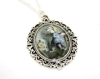 SALE - Alice In Wonderland Through the Mirror Cameo Necklace