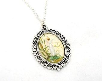 Fairy Cameo Necklace, Faerie Illustration Pendant, Pixie Jewelry, Grasshopper Necklace