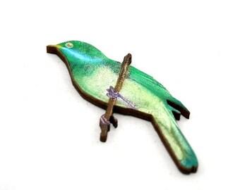 Green Bird Brooch, Wooden Bird Brooch, Bird Illustration, Wood Jewelry