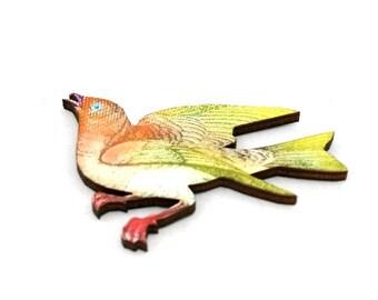 Bird Brooch, Wooden Bird Brooch, Bird Illustration, Wood Jewelry